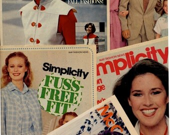 Five 1970s fashion forecast sewing pattern leaflets, McCalls, Simplicity