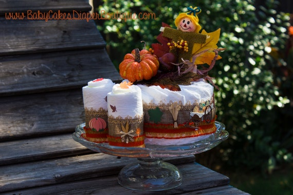 Fall Baby Shower | Pumpkin Diaper Cake | Fall Centerpiece | Pumpkin Baby Shower | Diaper Cake | Pumpkin Theme Baby Shower | Orange Pumpkin