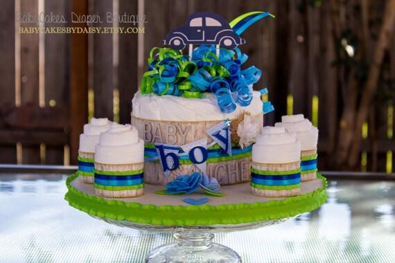 It's a Boy Diaper Cake | Baby Boy Baby Shower Centerpiece | Bug Car Baby Shower Theme | Baby Boy Diaper Cake | Diaper Cake