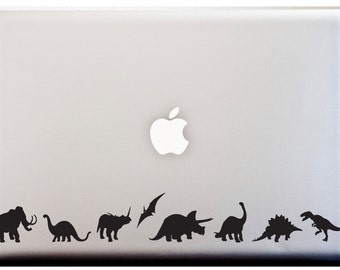 Dinosaur Stripe Silhouette Decal LAPTOP or CAR Decal Dinos TREX Jurassic Lover Stickers