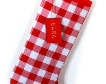 Checkered Christmas Stocking - Checks Christmas Stocking - Red Checks Stocking - FREE Shipping