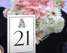 Wedding Cake Table Numbers, Pink and Black Table Numbers, Dinner Table Numbers, Formal Wedding Table Numbers 1 - 50 Instant Download