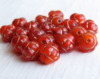 Tangerine Chubby Satellites  - 9 x 9mm deep opal orange bronze picasso finish (10), flying saucer beads, orange beads, czech glass saturn uk