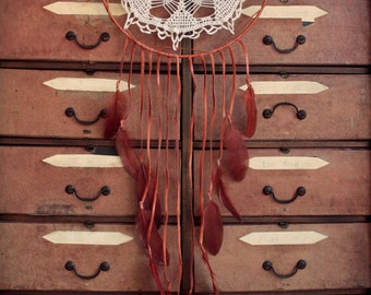 ON SALE! Huge orange dream catcher made with leather and feathers.