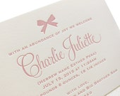 Letterpress Baby Birth Announcements - 50 flat cards with envelopes - 1 ink color - custom designed, pink, newborn, baby BA121