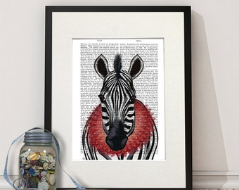 Zebra Print Red Ruff - Zebra art zebra wall art zebra painting kids room décor nursery decor kids bedroom décor art for girls room Cool kid