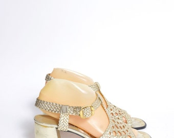 Vintage 80's Chunky Gold Woven Slingback Sandals