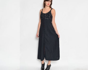 Vintage 90's Strappy Buttoned Maxi Dress