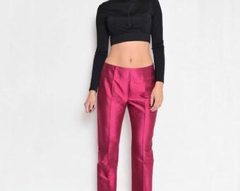 Vintage Raspberry Pink Silk Pants