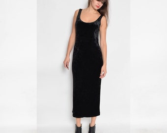 Vintage 90's Black Velvet Maxi Long Sleeveless Dress