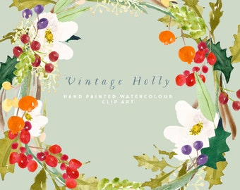 Holly Watercolour Clipart, Hand Painted Graphics - Vintage Holly Wreath Clip Art