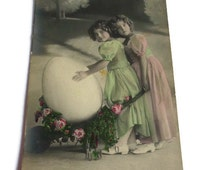 French Vintage Postcard . Two Young Girl with a Giant Easter Egg . Bonnes Paques . Happy Easter .