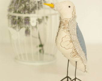 Neutral and Blue Textile Fabric Bird Soft Sculpture