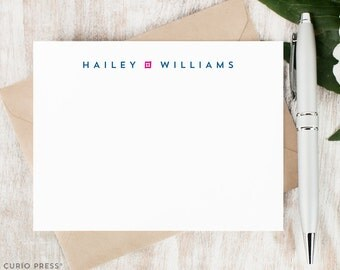 Personalized Notecard Set / Set of Flat Personalized Stationery Cards and Envelopes / Custom Printed Personal Stationary Set // MINIMALIST