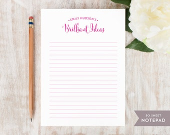 Personalized Notepad - BRILLIANT IDEAS - Stationery / Stationary Notepad - chic simple custom pad womens girls stationary