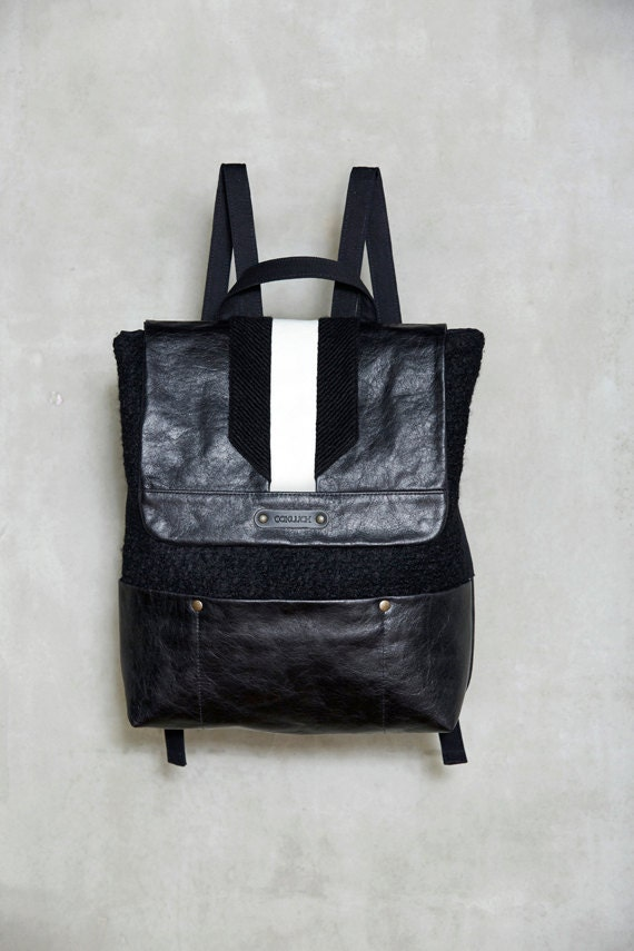 UPPSALA - leather & knit backpack - black