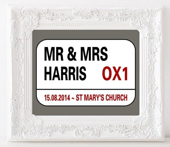 Personalised wedding gift- london street sign- street sign print ...
