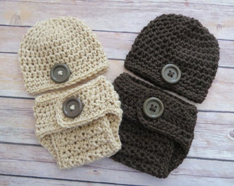 NEWBORN Boy Hat, Diaper Cover, Baby Shower Gift, Photo Props, button hat, diaper cover, bringing home baby outfit, Colors: Buff or Graphite