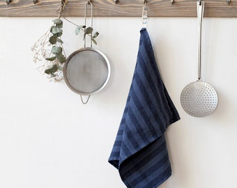 Forged Iron Stone Washed Linen Tea Towel