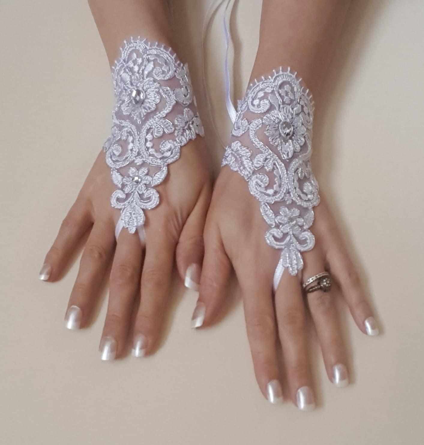 white wedding gloves bridal gloves lace gloves fingerless