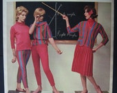 Vintage Geometry Class Chalkboard Glamour Girls in red 1961 Tailor-Tee Print Ad