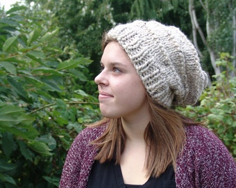 READY TO SHIP: Slouchy Beanie Hat Knit Wool Blend - Heritage Hat