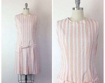 60s Drop Waist Geometric Print Day Dress / 1960s Vintage Striped Peach Mod Mini Dress / Medium / Size 8