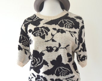 Floral Short Sleeved Sweater