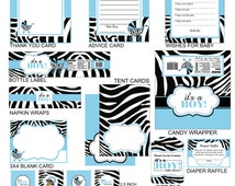 Zebra Print Baby Shower Party Package, Zebra Print Party Favors,  Instant Download - Digital File