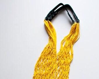 Reusable shopping bag, string bag, fishnet bag with leather handles