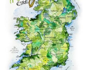 Ireland Map // ILLUSTRATION // 12x16