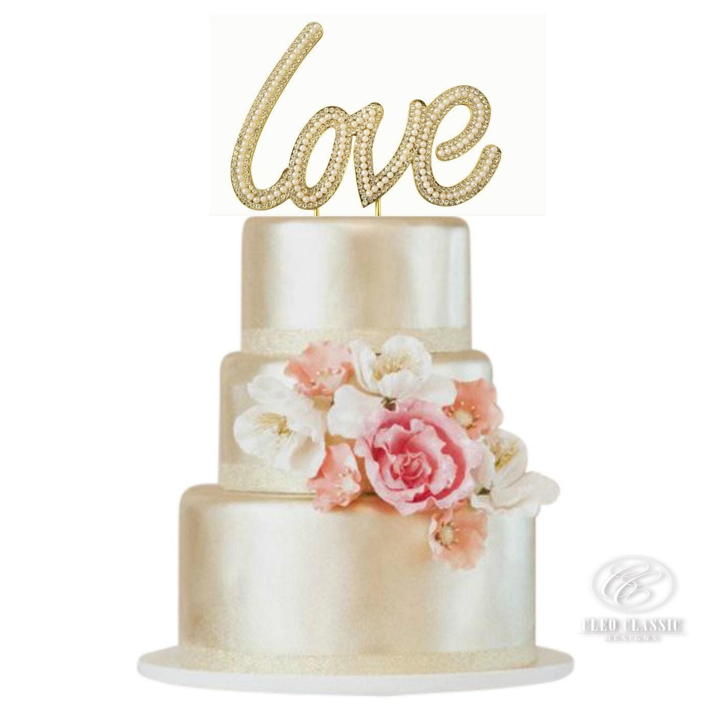 Love Sparkle Rhinestone Pearl Cake Topper Sweet Sixteen