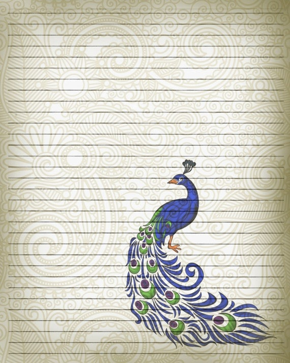 printable journal page peacock bird writing stationery 8 x