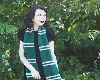 Hand Knitted Slytherin House Scarf