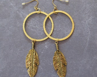 Metal Feather Earrings *Native American,dreamcatcher,women fashion,teen girl,hoop earrings,gift ideas,for her,for teens,American Indian,boho