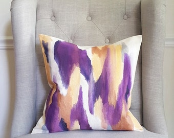 Watercolor Throw Pillow Cover, Hand-painted, Indoor/Outdoor, Graphic