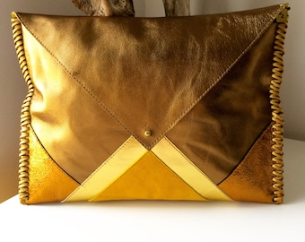 BRONZE SUNSHINE /  leather & suede clutch