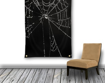 Gothic Wall Tapestry, Black & White Wall Hanging, Spider Web Photo Tapestry, Tapestry Wall Hanging, Large Wall Decor, Black Garden Flag