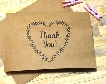 Rustic Thank You Card Set, Wedding Thank You Stationery, Laurel Heart Thank You Cards, Laurel Wreath Thank You Note Card Set