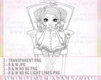 Princess Queen Wonderland UNCOLORED Digital Stamp Image Adult Coloring Page jpeg png jpg Fantasy Craft Fae Cardmaking Papercrafting DIY
