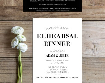 Printable Rehearsal Dinner Invitation - the Annabelle Collection