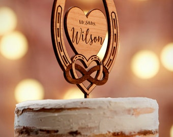 Personalized Wedding Cake Topper Rustic Cake Toppers for Wedding | Custom Wedding Cake Topper | Bridal Shower Gift -CT#30W