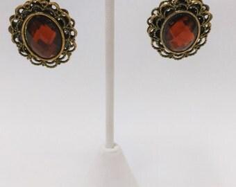 Brown Layered Filigree Earrings