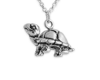 Walking Tortoise Turtle Charm Pendant Necklace #925 Sterling Silver #Azaggi N0458S