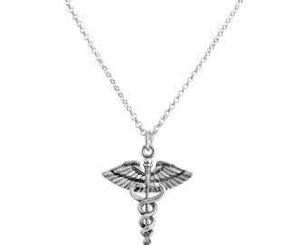 Caduceus Symbol of Medicine Charm Pendant Necklace For Doctors & Nurses #925 Sterling Silver #Azaggi N0631S