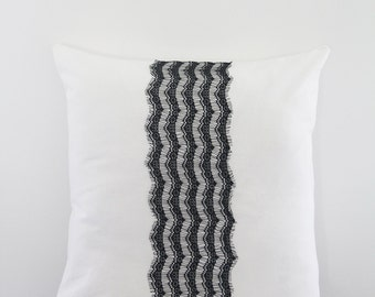 "18""x18"" Black and White Lace Decorative Throw Pillow, Cushion Cover"