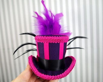 Cheshire Cat Inspired Purple and Pink Striped Small Mini Top Hat Fascinator, Alice in Wonderland, Mad Hatter Tea Party, Derby Hat