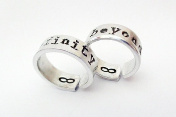 To Infinity and Beyond Friendship Rings - Hand Stamped Aluminum - A Pair of TWO - Customizable