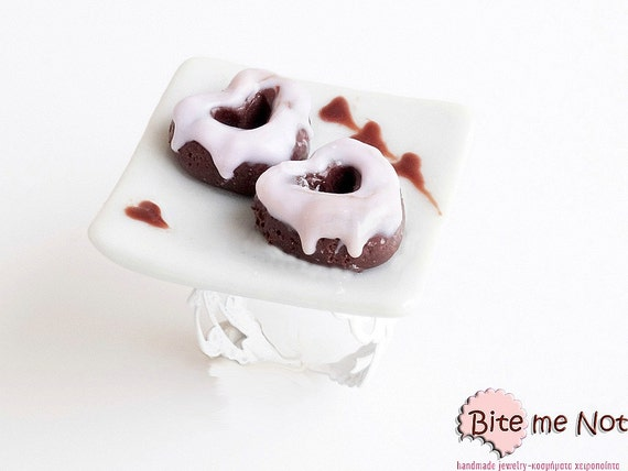 Heart Donuts Ring, Doughnut Ring, Valentine Gift, Donuts Jewelry, Miniature Donuts, Tiny Donuts, Donut Ring, Food Jewelry, Cute ring