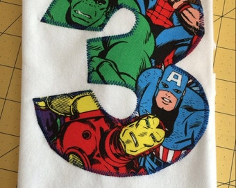 AVENGERS BIRTHDAY Shirt. Kids Appliquéd Personalized T-shirt. Marvel, Captain America, Hulk, Iron Man, Spider-Man, Thor PARTY